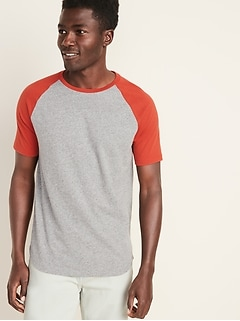 Soft-Washed Color-Block Raglan-Sleeve Tee for Men