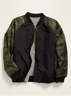 Reversible Color-Blocked Bomber Jacket for Boys