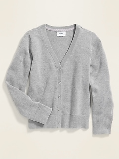 Uniform V-Neck Button-Front Cardi for Girls