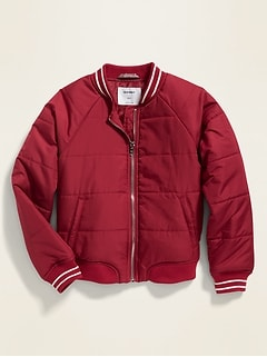 Lightweight Quilted Bomber Jacket for Girls