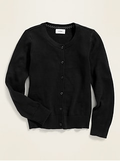 Uniform Crew-Neck Button-Front Cardi for Girls