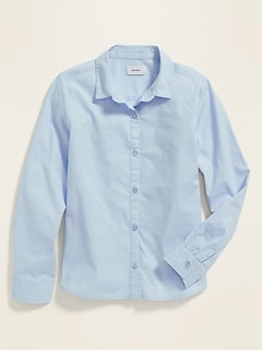 Uniform Long-Sleeve Poplin Shirt for Girls