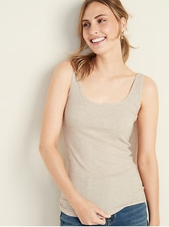 First-Layer Fitted Rib-Knit Tank for Women