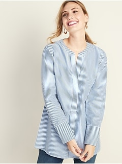 Striped Poplin Popover Tunic Shirt for Women