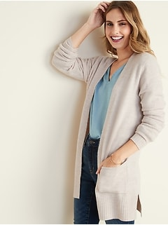 Soft-Brushed Open-Front Long-Line Sweater for Women