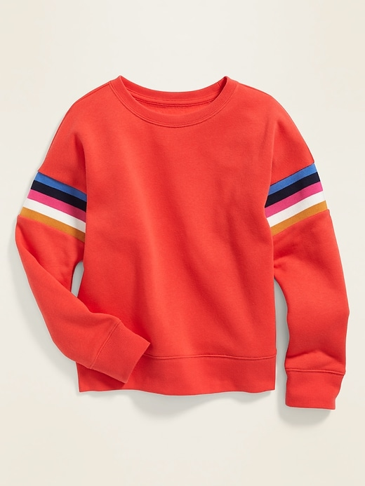 Relaxed Sleeve-Stripe Crew-Neck Sweatshirt for Girls