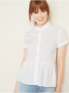 Button-Front Peplum-Hem Shirt for Women