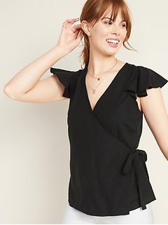 Wrap-Front Side-Tie Top for Women