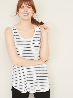 Luxe Striped Scoop-Neck Swing Tank for Women
