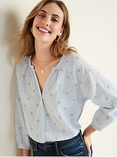 Split-Neck Eyelet Gauze Blouse for Women