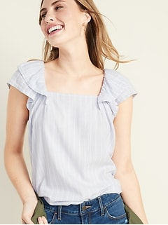 Striped Square-Neck Flutter-Sleeve Top for Women