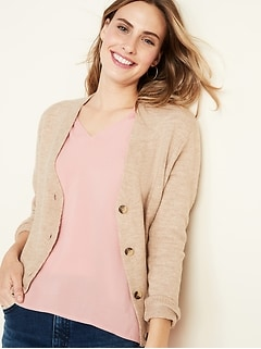 Slouchy Soft-Brushed Button-Front Cardi for Women