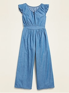 Waist-Defined Chambray Ruffle-Sleeve Jumpsuit for Girls