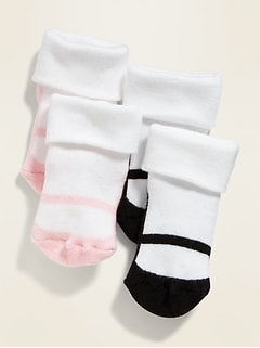 Ballet-Slipper Graphic Roll-Cuff Crew Socks 2-Pack for Baby