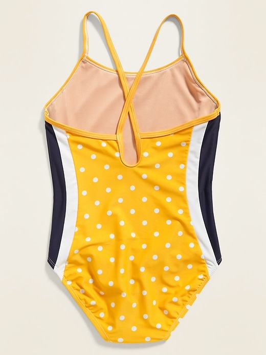 Printed Cross-Strap Keyhole-Back Swimsuit for Girls