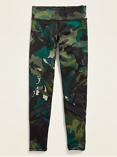 Mid-Rise Go-Dry Camo Mesh-Trim Leggings for Girls