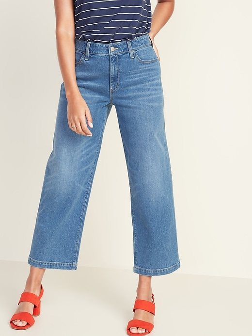 High-Rise Wide-Leg Ankle Jeans for Women