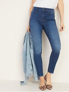 High-Waisted Rockstar Built-In Sculpt Raw-Edge Jeans For Women