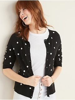 Printed Crew-Neck Cardi for Women