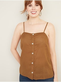 Linen-Blend Button-Front Cami for Women