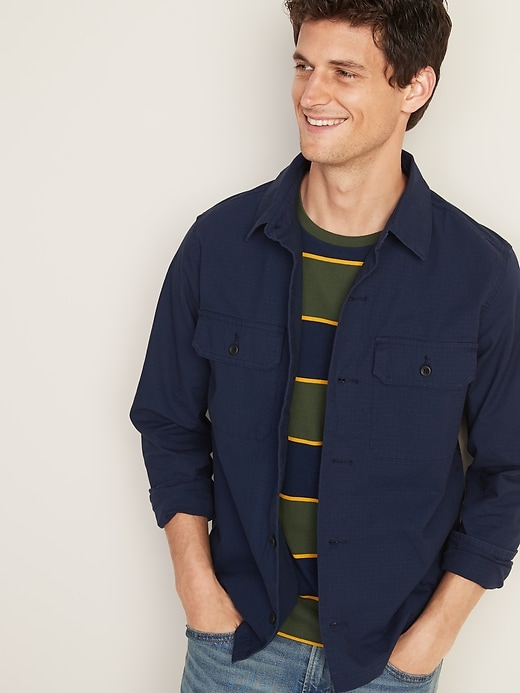 Old Navy Built-In Flex Ripstop Canvas Shirt Jacket for Men