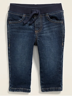 Rib-Knit-Waist Pull-On Skinny Jeans for Baby