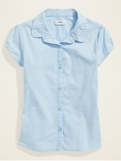 Uniform Short-Sleeve Poplin Shirt for Girls