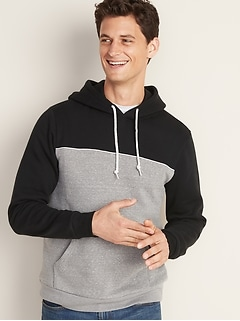 Color-Blocked Chest-Piping Pullover Hoodie for Men