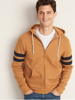 Pieced Sleeve-Stripe Zip Hoodie for Men
