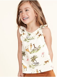 Ruffle-Trim V-Neck Swing Tank for Toddler Girls