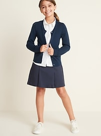 Uniform Crew-Neck Button-Front Cardigan for Girls