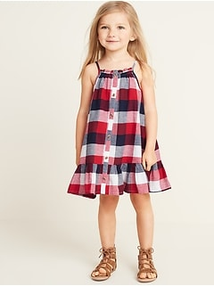 Patterned Button-Front Tiered-Hem Sundress for Toddler Girls