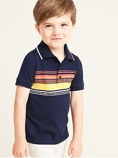 Built-In Flex Chest-Stripe Pique Polo for Toddler Boys