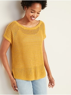 Relaxed Dolman-Sleeve Crochet Sweater for Women