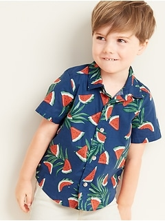 Built-In Flex Watermelon-Print Shirt for Toddler Boys