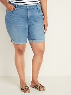 Mid-Rise Secret-Slim Pockets Plus-Size Denim Bermudas -- 9-inch inseam
