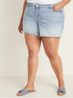 Plus-Size Boyfriend Denim Cutoffs - 5-inch inseam