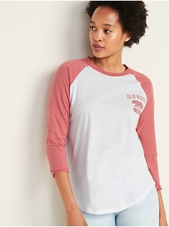 Color-Blocked Logo-Graphic Raglan-Sleeve Tee for Women