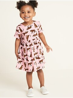 Printed Fit & Flare Dress for Toddler Girls