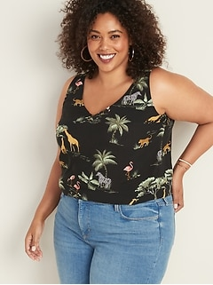 Plus-Size Sleeveless Printed V-Neck Top