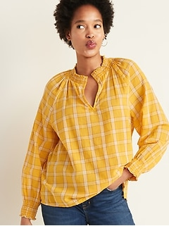 Plaid Smocked Split-Neck Gauze Blouse for Women