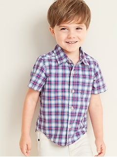 Built-In Flex Plaid Poplin Shirt for Toddler Boys