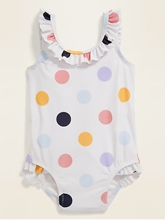 Ruffle-Trim Polka Dot Swimsuit for Baby