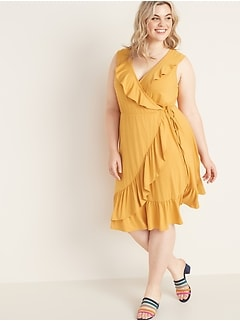 Ruffled Fit & Flare Plus-Size Faux-Wrap Dress