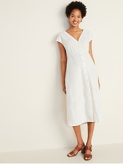 Button-Front V-Neck Linen-Blend Midi for Women