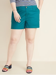 49a3205f0e2e Mid-Rise Plus-Size Everyday Twill Shorts - 5 Inch Inseam