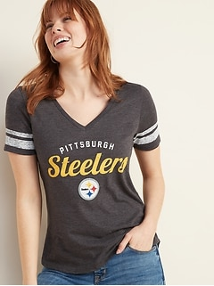 NFL&#174 Team Sleeve-Stripe V-Neck Tee for Women