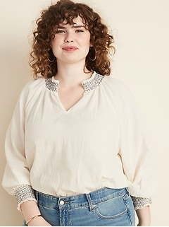 Smocked Split-Neck Plus-Size Gauze Blouse