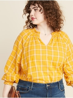 Plaid Smocked Split-Neck Plus-Size Blouse