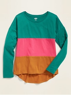 Color-Blocked Softest Tee for Girls